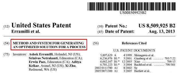 Planning and Scheduling Optimization Technology Patent Optessa