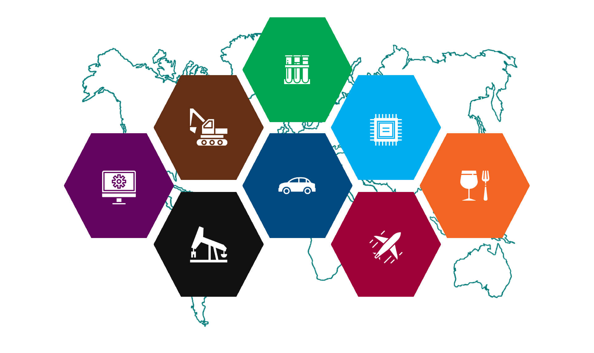 icon representation of industries served, including auto, transportation, construction, food