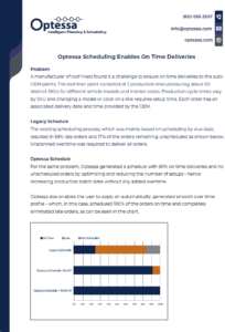 Optessa Scheduling Enables On Time Deliveries Screenshot