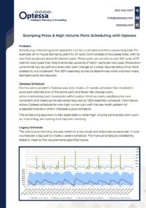 Stamping Press & High Volume Parts Scheduling Screenshot