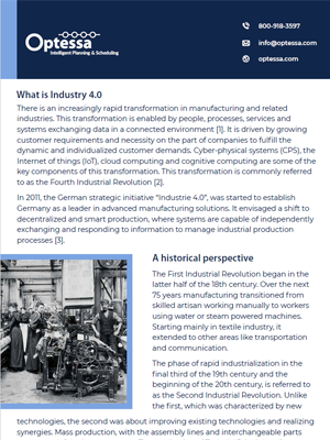 WHITEPAPER - Planning & Scheduling the Vital Industry 4 Transformation Component (Part 1) Screenshot